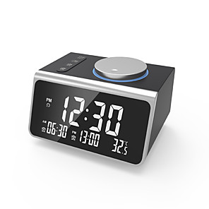 cheap Home Automation & Entertainment-Digital Alarm Clock, with FM Radio, Dual USB Charging Ports, Temperature Detect, Dual Alarms, Snooze, 5-Level Brightness Dimmer, Batteries Operated, for Bedroom, Small Sleep Timer