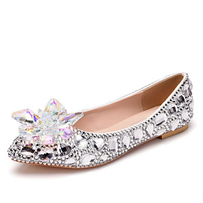 cheap Wedding Shoes-Women's Wedding Shoes Flat Heel Pointed Toe Rhinestone / Crystal Synthetics Fall & Winter Silver / Rainbow / Party & Evening