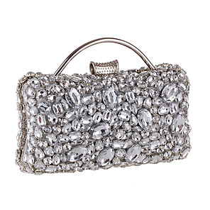 cheap Clutches & Evening Bags-Women's Crystals / Glitter Alloy Evening Bag Black / Silver