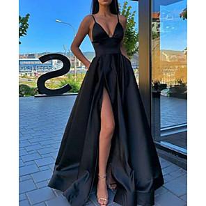 cheap Evening Dresses-A-Line Sexy Black Prom Formal Evening Dress Spaghetti Strap Sleeveless Sweep / Brush Train Satin with Pleats Split Front 2020