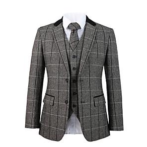 cheap Custom Tuxedo-Cool gray herringbone tweed wool custom suit