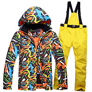 cheap Women's Sandals-ARCTIC QUEEN Men's Ski Jacket with Pants Camping / Hiking Winter Sports Waterproof Windproof Warm Polyester Jacket Pants / Trousers Clothing Suit Ski Wear