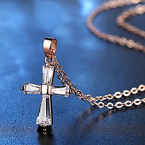 cheap Men's Necklaces-Women's AAA Cubic Zirconia Pendant Necklace Cross Chrome Rose Gold Silver 49 cm Necklace Jewelry 1pc For Daily