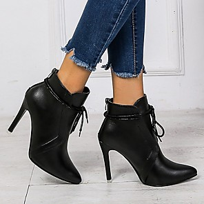 cheap Women's Boots-Women's Boots Stiletto Heel Pointed Toe Faux Leather Booties / Ankle Boots Classic Fall & Winter Black