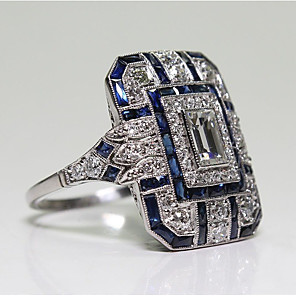 cheap Fine Jewelry-Women's Ring Cubic Zirconia 1pc Blue Copper Ladies Fashion Daily Evening Party Jewelry Classic Pave Cool