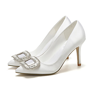 cheap Wedding Shoes-Women's Wedding Shoes Stiletto Heel Pointed Toe Rhinestone Satin Sweet Spring &  Fall / Spring & Summer White / Party & Evening