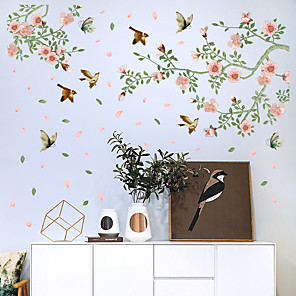 cheap Wall Stickers-SK9283 Creative Floating Flowers And Birds Wardrobe Living Room Dining Room Entrance Bedroom TV Background Wall And Other Decorative Wall Stickers