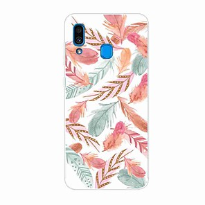 cheap Samsung Case-Case For Samsung Galaxy S9 / S9 Plus / S8 Plus Pattern Back Cover Feathers TPU