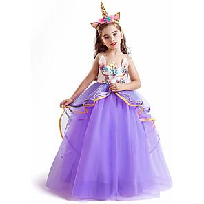cheap Movie & TV Theme Costumes-Unicorn Dress Cosplay Costume Masquerade Girls' Movie Cosplay A-Line Slip Cosplay Halloween Purple / Pink / Blue Dress Halloween Children's Day Masquerade Poly / Cotton Blend