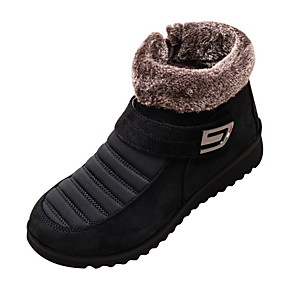 cheap Women's Boots-Women's Boots Snow Boots Flat Heel Peep Toe PU Booties / Ankle Boots Fall & Winter Black / Brown / Red