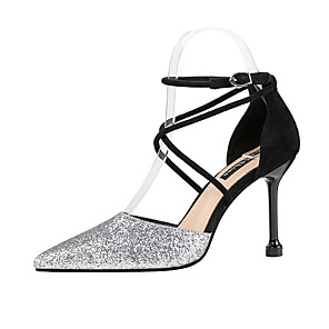 cheap Women's Heels-Women's Heels Glitter Crystal Sequined Jeweled Stiletto Heel Pointed Toe Sequin Synthetics Classic / Minimalism Fall / Spring & Summer Red / Gold / Black / Party & Evening / 3-4 / Party & Evening