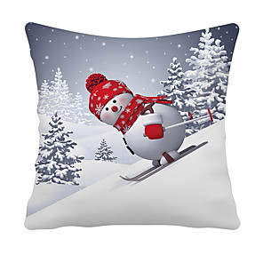 cheap Throw Pillow Covers-Set of 1 Decorative Throw Pillow Covers Set of 4 Christmas Pillow Cover Cotton Linen Snowman Print Sofa Pillow Case Cushion Cover Pillowcases 18x18 Inches