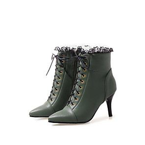 cheap Women's Boots-Women's Boots Stiletto Heel Pointed Toe PU Fall Black / White / Green