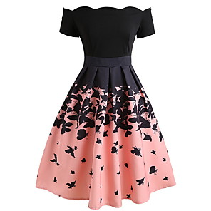 cheap Historical & Vintage Costumes-Women's A-Line Dress Knee Length Dress - Short Sleeve Color Block Off Shoulder Elegant Party Blushing Pink S M L XL XXL