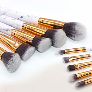 cheap Makeup Brush Sets-Professional 10pcs Marble Makeup Brushes Set Soft Foundation Powder Eyeshadow Brush Beauty Marble Make Up Tools with Cylinder