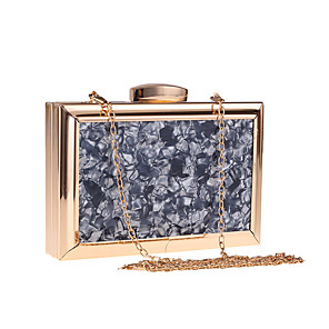 cheap Clutches & Evening Bags-Women's Chain Acrylic / Polyester Evening Bag Color Block Black / White / Almond