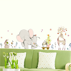 cheap Wall Stickers-New XH9307 happy elephant cartoon animal wall stickers living room bedroom background decoration removable stickers