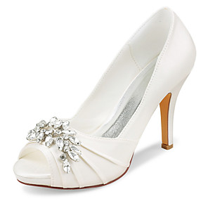 cheap Wedding Shoes-Women's Wedding Shoes Stiletto Heel Peep Toe Rhinestone Satin Spring &  Fall / Summer Ivory