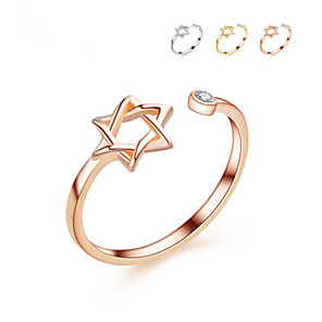 cheap Rings-3 Color Original David Star Ring Gold Color Rings For Women Simple Rhinestone Hexagram Open Ring for Girl Jewelry gift Party