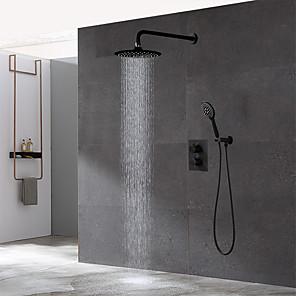 povoljno Kuhinjski sudoperi-kupaonica skrivena crna termostatska garnitura za tuširanje 10-inčni kišni strop nad glavom i ručni set za slavinu za tuširanje