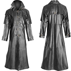 cheap Historical & Vintage Costumes-Plague Doctor Retro Vintage Gothic Steampunk Coat Masquerade Men's Costume Black Vintage Cosplay Party Halloween Long Sleeve