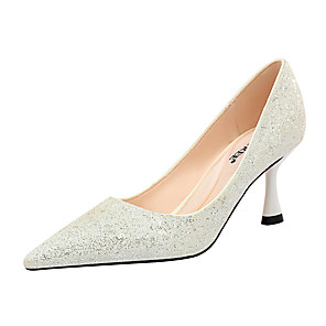cheap Wedding Shoes-Women's Wedding Shoes Stiletto Heel Pointed Toe Rhinestone / Sequin / Sparkling Glitter Synthetics Minimalism Spring & Summer Black / White / Champagne / Party & Evening