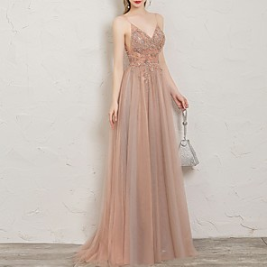 cheap Prom Dresses-A-Line Open Back Prom Formal Evening Dress Spaghetti Strap Sleeveless Sweep / Brush Train Tulle Sequined with Beading Sequin Split Front 2020
