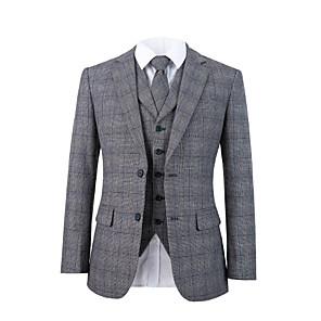 cheap Custom Tuxedo-Gray plaid tweed wool custom suit