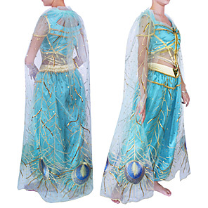cheap Movie & TV Theme Costumes-Princess Princess Jasmine Outfits Flower Girl Dress Women's Girls' Movie Cosplay A-Line Slip Princess Blue Top Pants Cloak Halloween Carnival Children's Day Tulle Silk Plain Sateen