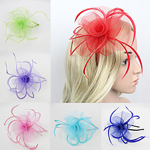 cheap Hair Jewelry-Women's Fascinators For Wedding Party Special Occasion Feather Fabric Red Pink Green