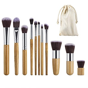 cheap Makeup Brush Sets-11 Pieces Makeup Brush Set Professional Bamboo Handle Premium Synthetic Foundation Blending Blush Concealer Eye Face Liquid Powder Cream Cosmetics Brushes Kit With Hessian Bag