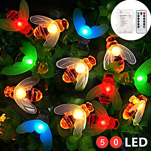 cheap LED String Lights-ZDM 5M 50 pcs Multi-color Waterproof IP65 battery box with 13key controller Honey Bee Shape LED Lamp string for Home Lighting Decorations Holiday party atmosphere