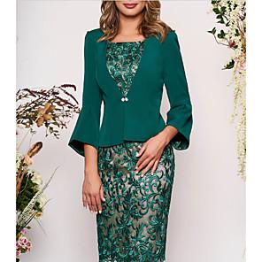 cheap Kids' Oxfords-Women's Two Piece Dress - 3/4 Length Sleeve Geometric Lace Elegant Slim Green M L XL XXL XXXL