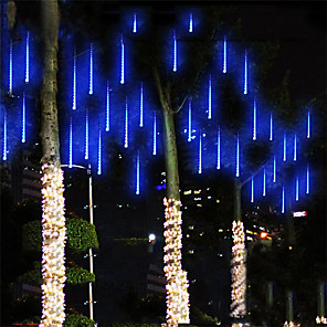 cheap LED String Lights-Falling Rain Lights Meteor Shower Lights Christmas Lights 30cm 8 Tube 144 LEDs Falling Rain Drop Icicle String Lights for Christmas Trees Halloween Decoration Holiday Wedding