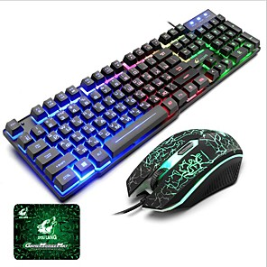 cheap Mouse Pad-Russian Layout Letters Luminous Keyboard with Mouse and Pad 3 Pcs a Backlit Gamer for Desktop