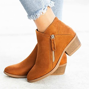 cheap Women's Boots-Women's Boots Low Heel Pointed Toe Suede Booties / Ankle Boots Casual / Minimalism Spring / Fall & Winter Black / Orange / Blue