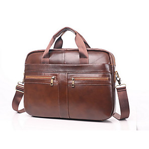 cheap Laptop Bags & Backpacks-Men's Bags Cowhide Briefcase for Daily / Office & Career Brown / Fall & Winter