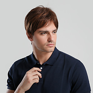 cheap Synthetic Trendy Wigs-Synthetic Wig Toupees Ombre Natural Straight Pixie Cut With Bangs Wig Ombre Short Natural Black #1B Strawberry Blonde / Medium Auburn Synthetic Hair 10 inch Men's Synthetic New Comfortable Brown Ombre
