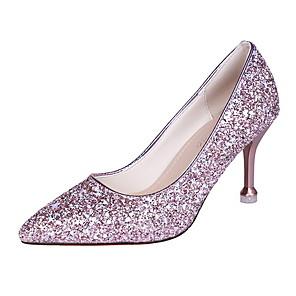 cheap Women's Heels-Women's Heels Stiletto Heel Pointed Toe Canvas Fall & Winter Gold / Silver / Pink / Daily