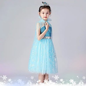 cheap Movie & TV Theme Costumes-Elsa Dress Masquerade Flower Girl Dress Girls' Movie Cosplay A-Line Slip Cosplay Sequins Blue Dress Halloween Carnival Masquerade Tulle Sequin Cotton