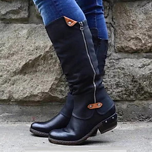 cheap Women's Boots-Women's Boots Low Heel Round Toe PU Mid-Calf Boots Fall & Winter Black / Green / Red