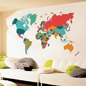 cheap Wall Stickers-Maps Wall Stickers Plane Wall Stickers Decorative Wall Stickers, Poly urethane Home Decoration Wall Decal Wall Decoration 1pc