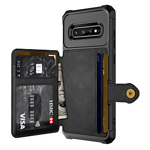 cheap Samsung Case-Case For Samsung Galaxy S9 / S9 Plus / Galaxy S10 Card Holder / Shockproof Back Cover Solid Colored PU Leather / PC