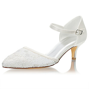 cheap Wedding Shoes-Women's Wedding Shoes Stiletto Heel Pointed Toe Crystal / Buckle Satin Summer Ivory / Party & Evening