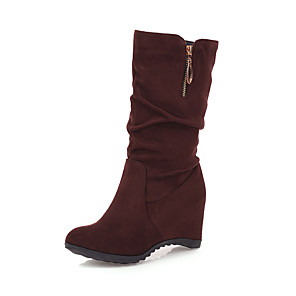 cheap Women's Boots-Women's Boots Hidden Heel Round Toe Casual Sweet Daily Office & Career Faux Fur Mid-Calf Boots Black / Burgundy / Brown