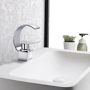 cheap Bathroom Sink Faucets-Bathroom Sink Faucet - Waterfall Chrome Centerset Single Handle One HoleBath Taps / Brass