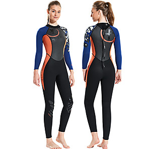 cheap Wetsuits, Diving Suits & Rash Guard Shirts-Dive&Sail Women's Full Wetsuit 1.5mm CR Neoprene Diving Suit Anatomic Design High Elasticity Long Sleeve Back Zip Patchwork Autumn / Fall Spring Winter