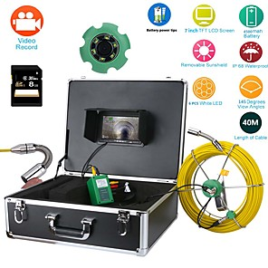 """cheap CCTV Cameras-Pipe Inspection endoscope Video Camera, 40M IP68 Waterproof Drain Pipe Sewer Inspection Camera System 7""""LCD DVR 1000TVL Camera with 6W LED Lights 8GB SD Card"""