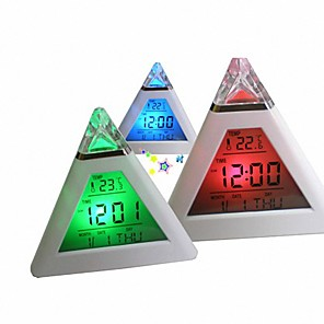 cheap Practical Favors-7 Colors Colorful Pyramid LCD Alarm Clock Night Light Thermometer Digital Wall Clock Changeable Led Clock Home Decor Accessorier