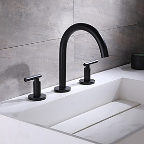 cheap Bathroom Sink Faucets-Bathroom Sink Faucet - Widespread Black Widespread Two Handles Three HolesBath Taps